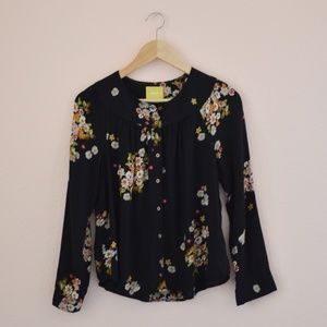 Anthropologie Floral Button Down Blouse